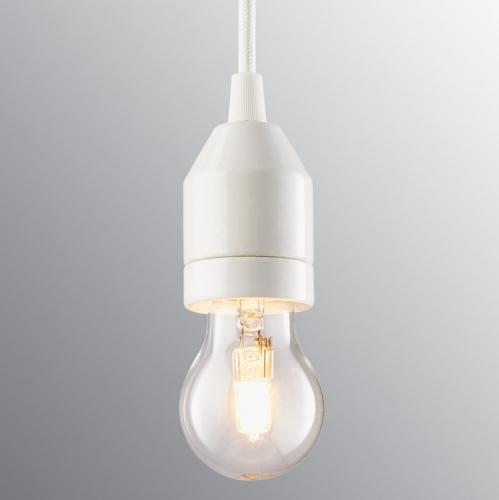 Suspension ampoule minimaliste en porcelaine blanche avec câble noir
