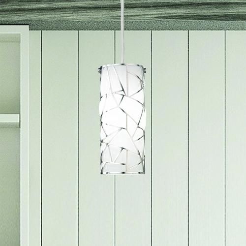 Suspension en verre soufflé de Murano blanc