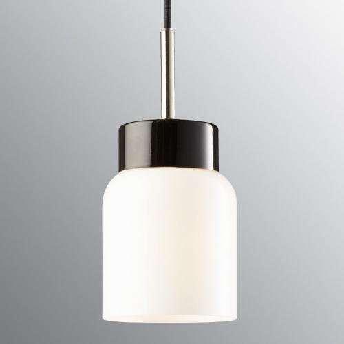 Suspension minimaliste en céramique noir avec diffuseur en verre opaque opale et câble noir