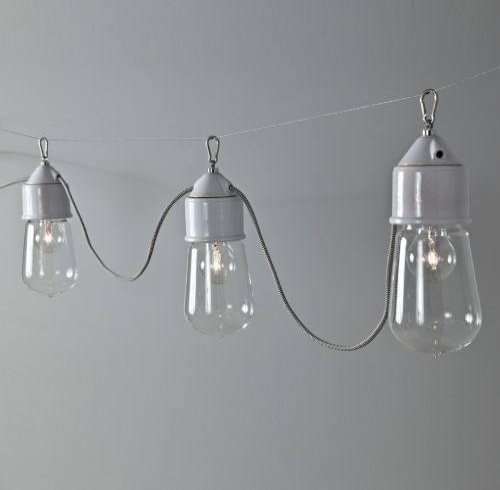 """Suspension multiple de couleur gris """" Perle """", sans réflecteur, diffuseur en verre transparent et câble textile noir et blanc"""