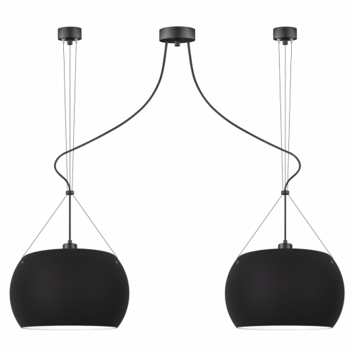 Suspension avec abat-jour noir matt, pièce métallique et câble électrique noir