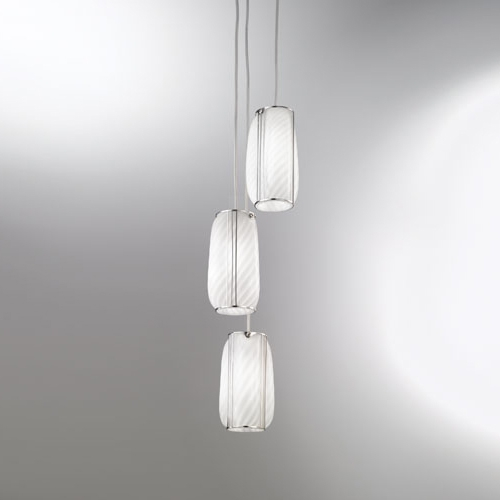 Suspension multiple au design classique en verre soufflé de Murano Rigadin