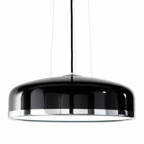 Suspension rétro cylindrique en aluminium avec finitions noir et chrome