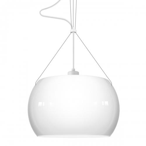 Suspension avec abat-jour blanc opale brillant, pièce métallique blanche, câble électrique blanc